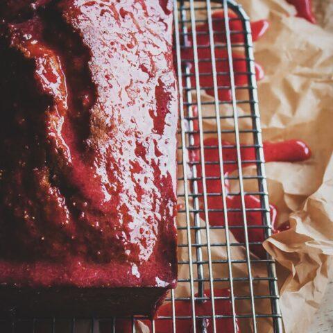 Classic Pound Cake with Fresh Strawberry Glaze