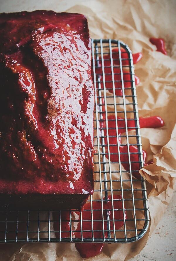 Classic Pound Cake with Fresh Strawberry Glaze | bloggingoverthyme.com