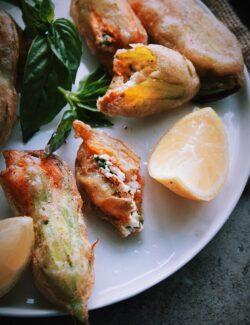 Fried Zucchini Blossoms Stuffed with Basil Ricotta