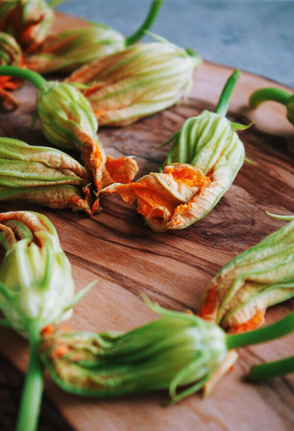 Fried Zucchini Blossoms Stuffed with Basil Ricotta | bloggingoverthyme.com