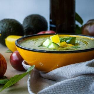 Creamy Heirloom Tomato and Avocado Gazpacho