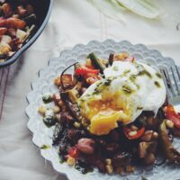 Farmers Market Hash with Poached Eggs