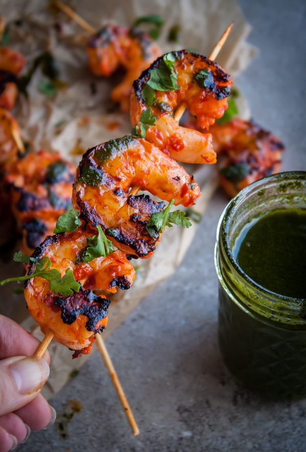 Grilled Harissa Shrimp Skewers with Basil Oil & Cilantro | bloggingoverthyme.com
