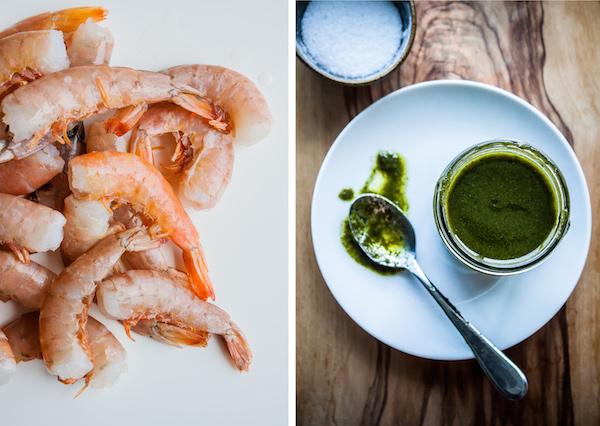 Grilled Harissa Shrimp Skewers with Basil Oil & Cilantro   bloggingoverthyme.com