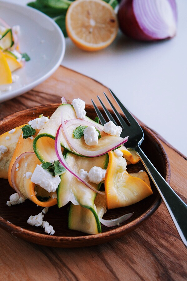 Shaved Summer Squash Salad with Goat Cheese and Mint