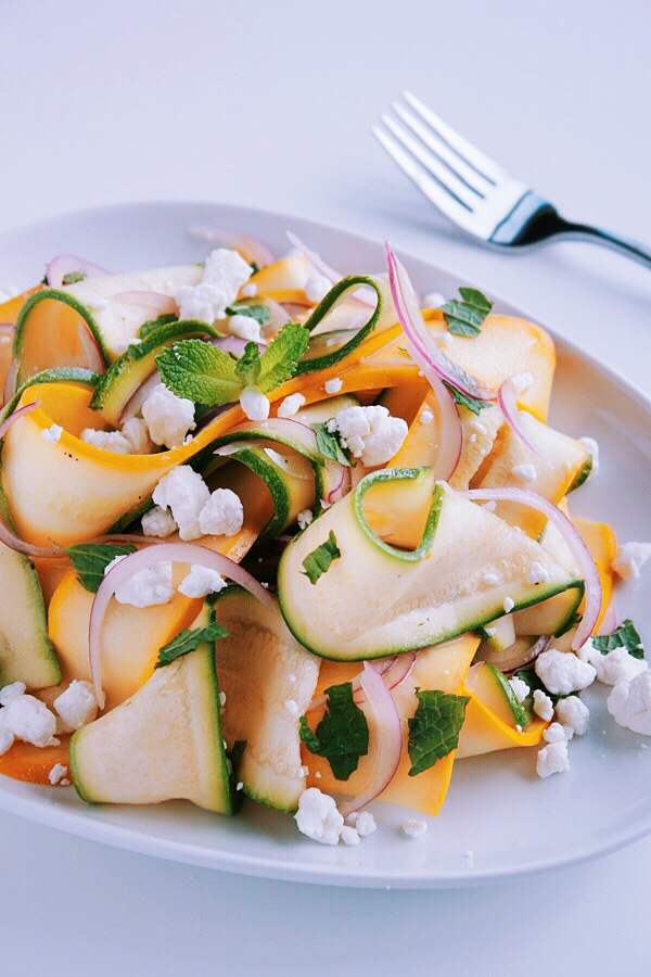 Shaved Summer Squash Salad with Goat Cheese and Fresh Mint. An easy ...