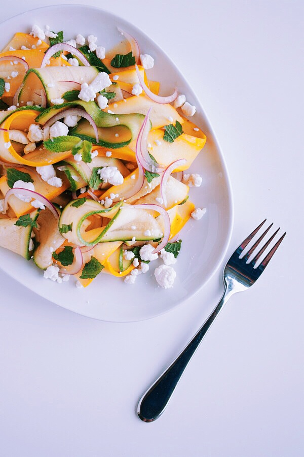 Shaved Summer Squash Salad with Goat Cheese and Fresh Mint. An easy, raw, and vegetarian summer salad!