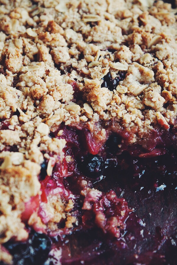Sour Cherry Berry Crisp | bloggingoverthyme.com