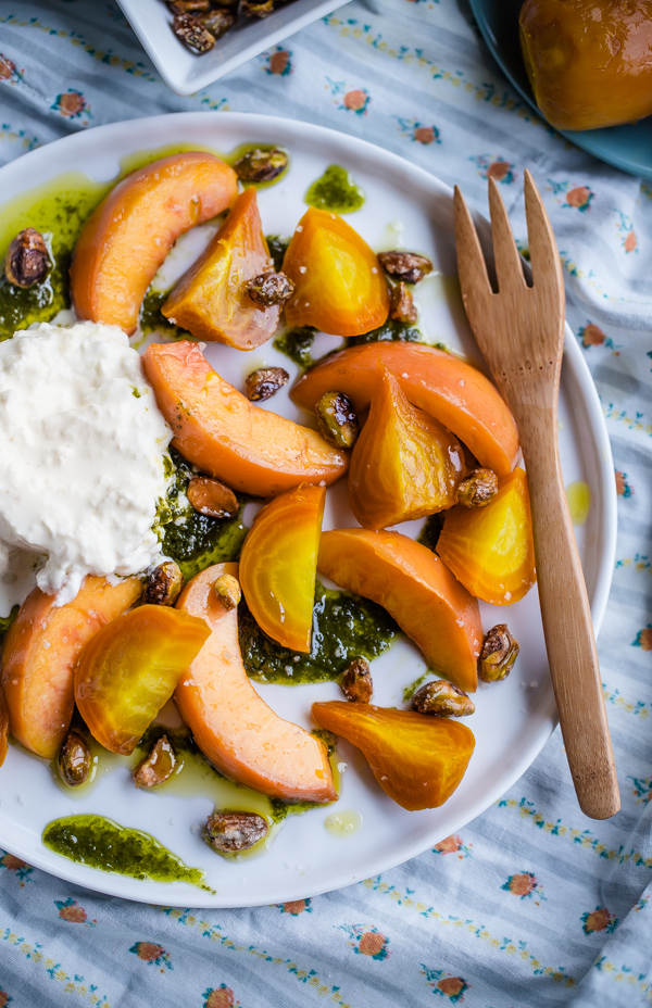 Roasted Beet Peach and Burrata Salad with Basil Oil and Candied Pistachios