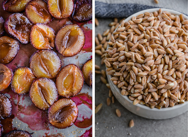 Broken Farro Porridge with Coconut Milk, Almonds, & Roasted Plums