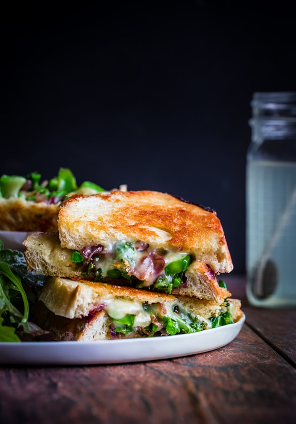 Grilled Cheese Sandwiches with Broccolini, Sautéed Red Onions, & Red ...