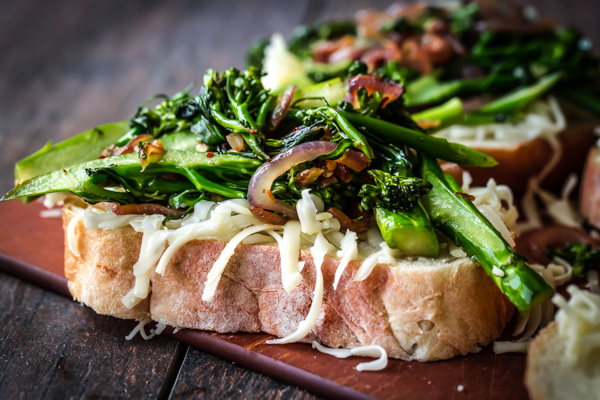 Grilled Cheese Sandwiches with Broccolini, Caramelized Red Onions, & Red Pepper Flakes