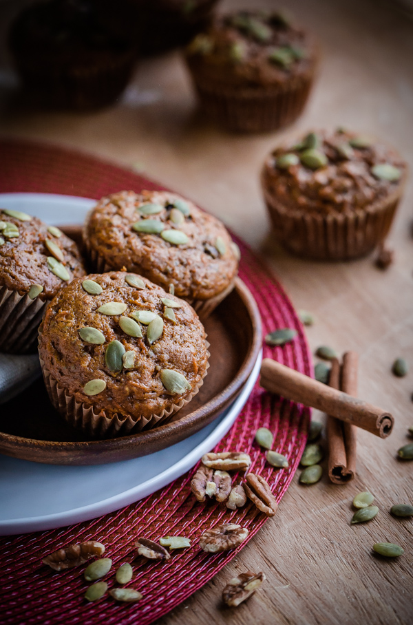 Healthy Pumpkin Carrot Pecan Muffins | bloggingoverthyme.com