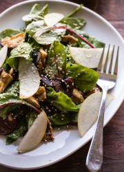 Roasted Shiitake and Asian Pear Salad with Miso-Sesame Vinaigrette