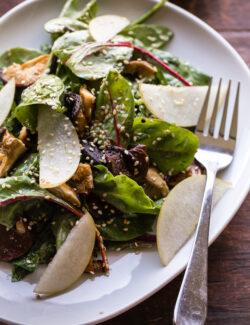 Roasted Shiitake and Asian Pear Salad with Miso-Sesame Vinaigrette