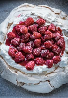 Fresh Raspberry Curd & Whipped Cream Pavlova