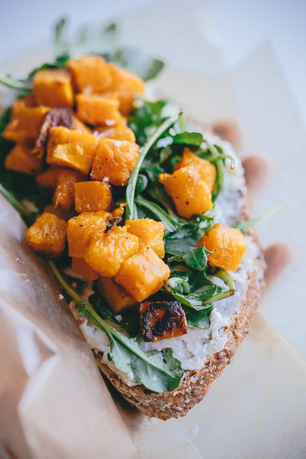 Butternut Squash, Arugula, and Roasted Garlic Goat Cheese Tartine ...