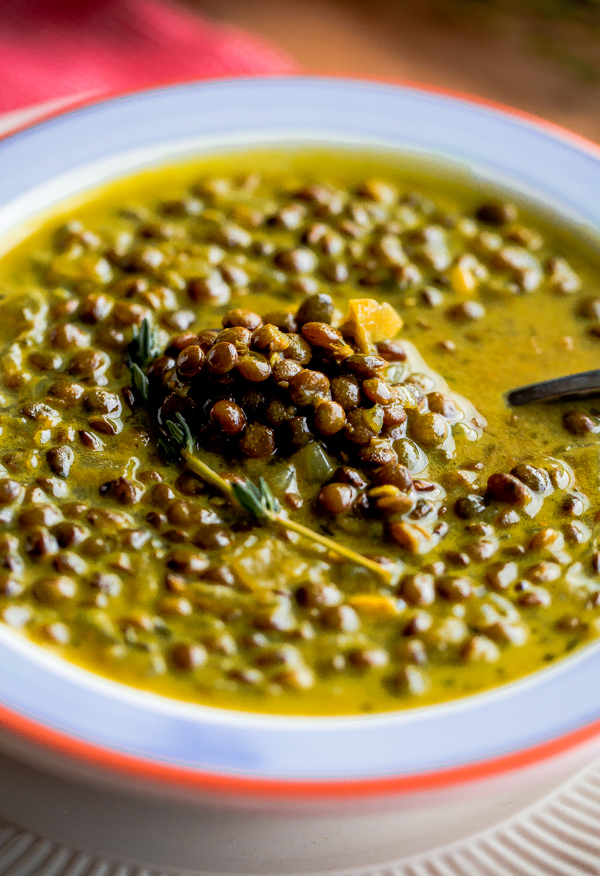 Green Lentil Soup with Coconut Milk