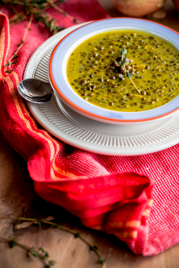 Green-Lentil Soup with Coconut Milk and Indian Spices. A flavor-packed comforting lentil soup recipe!