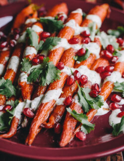 Roasted Carrots with Green Tahini Sauce and Pomegranate