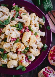 Roasted Cauliflower with Pomegranate Seeds, Mint, & Toasted Almonds