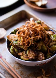 Asian Roasted Brussels Sprouts with Crispy Fried Shiitake Mushrooms #vegetarian
