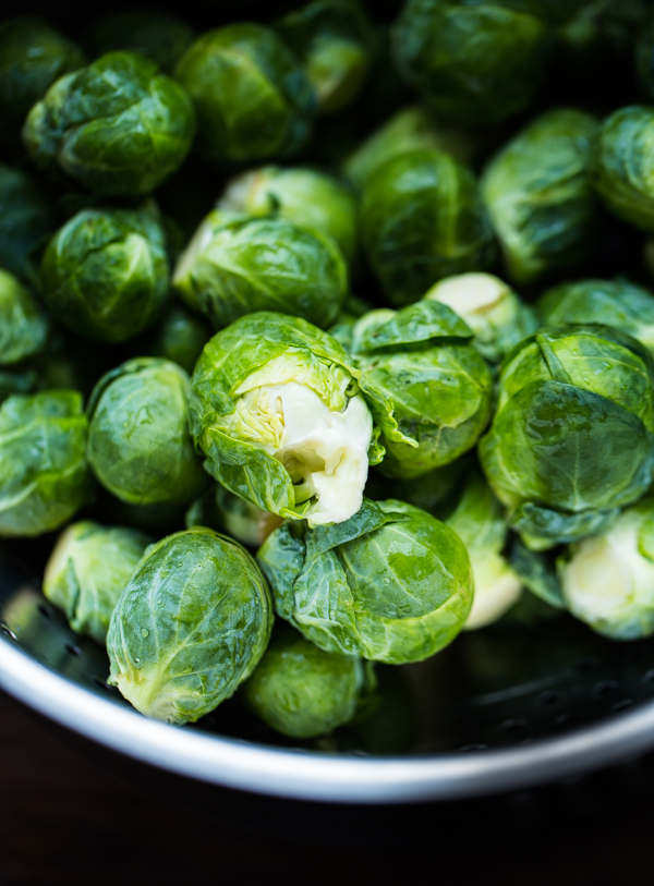 Brussels Sprouts Salad with Apple, Walnuts, and Parmesan-Pecorino Crisps