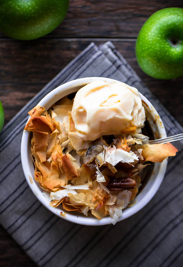 Individual Apple Phyllo Pies [...for people who hate to make pie dough.]