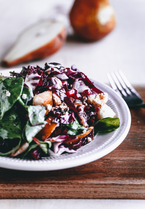 Radicchio, Pear, Gorgonzola, Pomegranate, and Walnut Salad - A ...