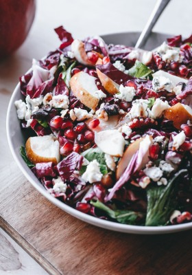 Raddichio, Pear, Gorgonzola, Pomegranate, and Walnut Salad