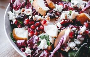 Raddichio, Pear, Gorgonzola, Pomegranate, and Walnut Salad