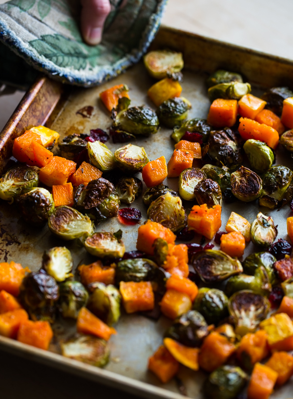 Roasted Brussels Sprouts and Squash with Dried Cranberries ...