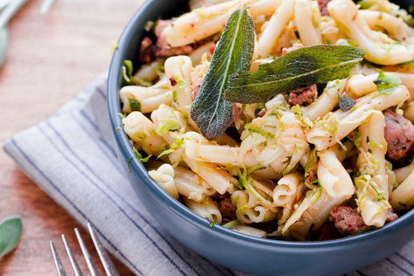 Strozzapreti with Pork Sausage, Shaved Brussels Sprouts, and Sage