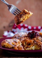 Buttermilk Panettone French Toast with Cranberry Compote