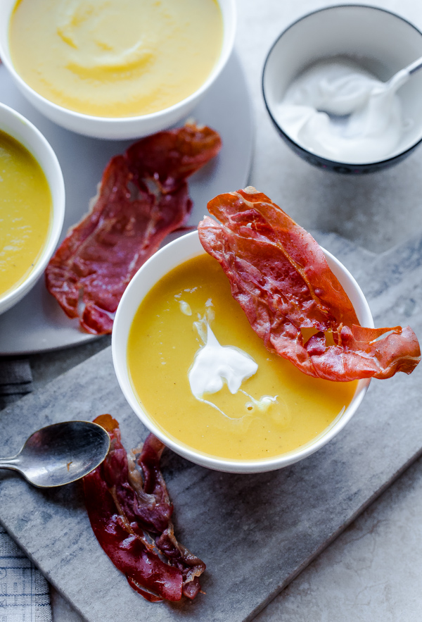 Butternut Squash and Leek Soup with Crispy Prosciutto and Creme ...