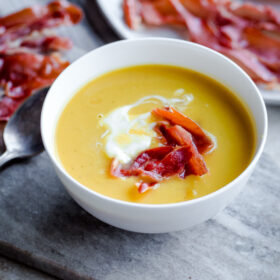 Butternut Squash and Leek Soup with Crispy Prosciutto and Creme Fraiche