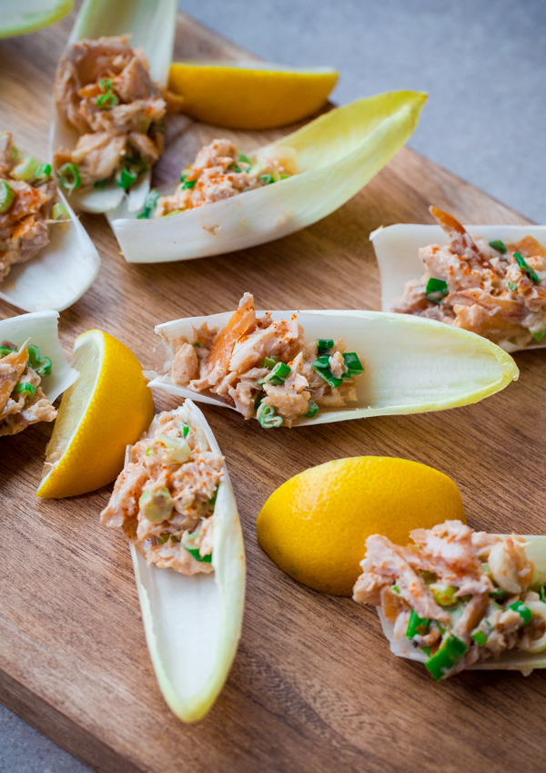 Endive Spears with Smoked Trout
