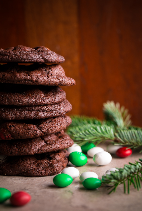 M&M Holiday Mint Chocolate Cookies