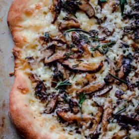 Mushroom Pizza with Havarti Cheese, Fresh, Herbs, & Truffle Oil #castelloart
