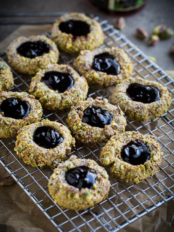 Pistachio Thumbprint Cookies with Blackcurrant Jam
