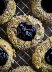 Pistachio Thumbprint Cookies with Blackcurrant Jam