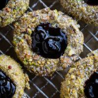 Pistachio Thumbprint Cookies with Black Currant Jam