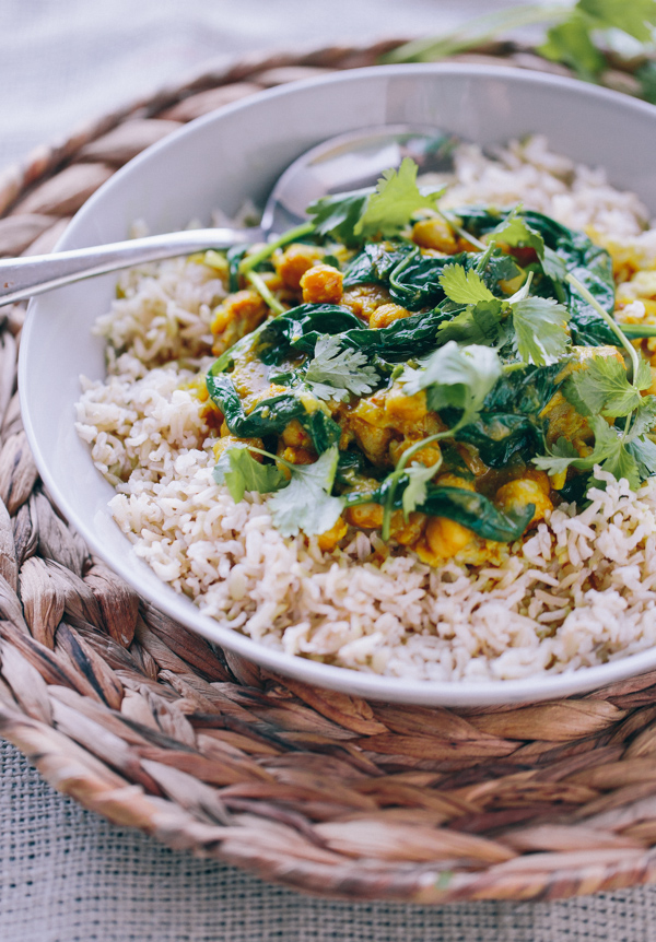 Braised Indian Chicken with Chickpeas and Spinach
