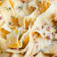 Creamy Leek and Pancetta Pappardelle Pasta