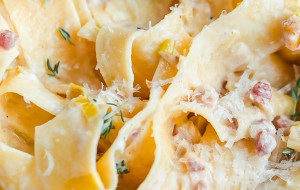 Creamy Leek and Pancetta Pappardelle for Two