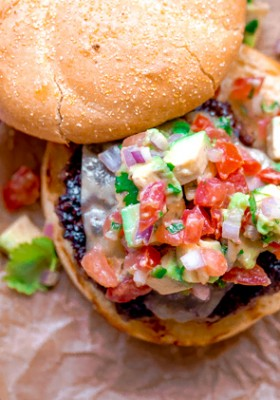 Southwest Burgers with Pepper Jack Cheese and Avocado Salsa