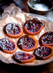 Candied Blood Orange Slices with Dark Chocolate and Sea Salt