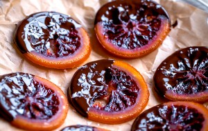 Candied Blood Orange Slices with Dark Chocolate and Sea Salt