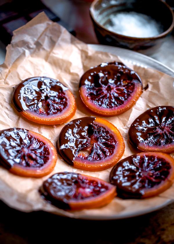 Candied Blood Orange Slices with Dark Chocolate - A