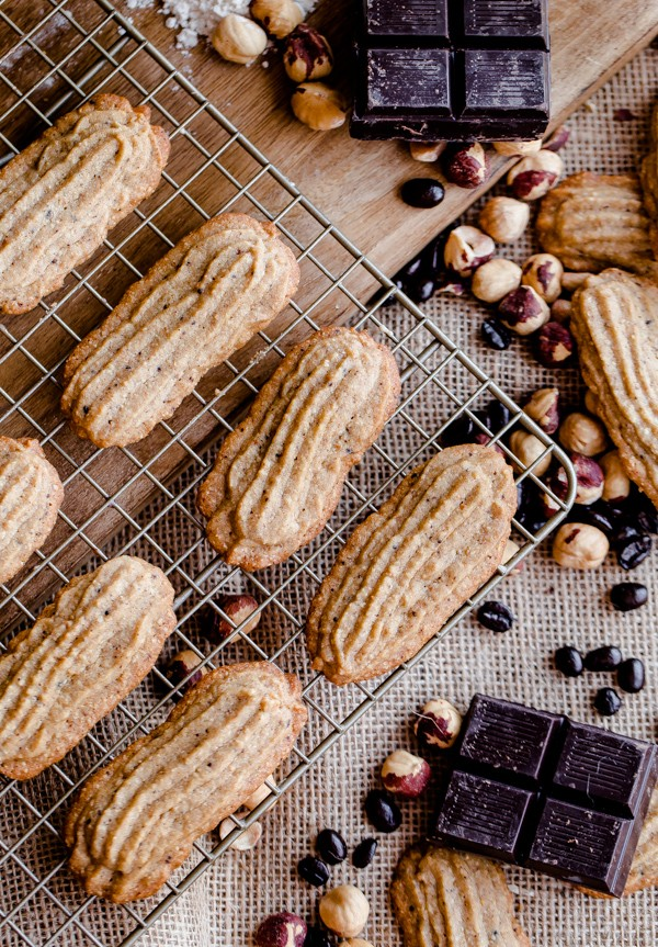 Espresso Hazelnut Cookies with Dark Chocolate Drizzle